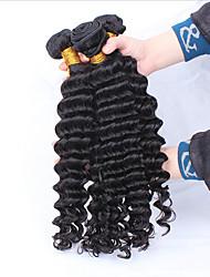 """3 Stück lot 12 """"-30"""" unverarbeitete rohe peruanische tiefe Welle lockiges reines Haareinschlagfäden natürliche schwarze remy Menschenhaar"""