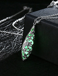 Women's Pendant Necklaces Alloy Flower Carved Fashion Green Blue Light Blue Jewelry Wedding Party Daily Casual Sports 1pc