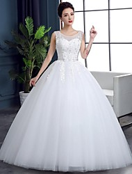 Ball Gown Wedding Dress Floor-length Sweetheart Lace / Organza / Satin with Lace / Sequin
