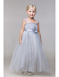 Ball Gown Ankle-length Flower Girl Dress - Rayon Sleeveless Straps with