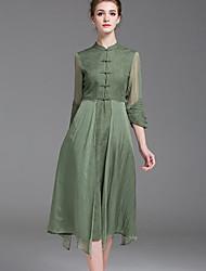 Gaine Robe Aux femmes Décontracté / Quotidien Vintage,Couleur Pleine Mao Asymétrique Manches ¾ Noir / Vert Soie Printemps
