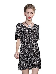 Women's Cute Floral A Line Dress,Round Neck Above Knee Polyester