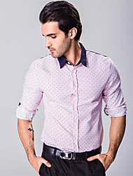 Men's Long Sleeve Shirt,Cotton / Polyester Casual Striped