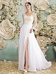 Sheath / Column Wedding Dress - Glamorous & Dramatic See-Through Wedding Dresses Floor-length Queen Anne Chiffon / Lace withAppliques /