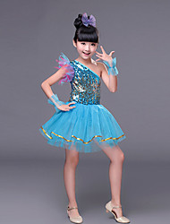Performance Children's Performance Polyester Sweet Sequins Dresses Dance Costumes