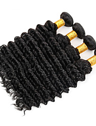 "4Pcs Lot 8""-30"" Malaysian Virgin Hair Deep Wave Natural Black Curly Human Hair Weave Bundles Shed & Tangle Free"
