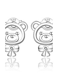 lureme® Cute Style 925 Sterling Silver Bear Shape with Zircon Stud Earrings