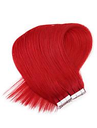 """Neitsi 20 """"langes Band in der menschlichen glatten Haaren pu Hauteinschlaghaarverlängerungen gerade rote"""