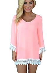 Damen Solide Retro / Einfach Lässig/Alltäglich T-shirt,Rundhalsausschnitt Alle Saisons Langarm Rosa Kunstseide / Polyester Dünn