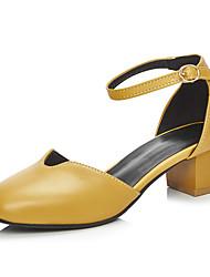 Chaussures Femme-Bureau & Travail / Habillé / Décontracté-Noir / Jaune / Blanc-Gros Talon-Talons / Bout Carré-Talons-Similicuir