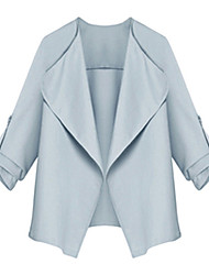 Manteau Aux femmes Manches ¾ Simple / Street Chic Polyester