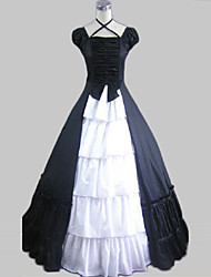 One-Piece/Dress Sweet Lolita Vintage Inspired Cosplay Lolita Dress White / Black Vintage Short Sleeve Long Length Dress For WomenCotton /