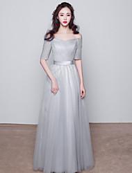 Hasta el Suelo Tul Vestido de Dama de Honor - Salón Bateau con