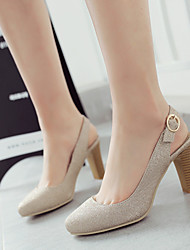 Women's Shoes Customized Materials Chunky Heel Heels / Round Toe Heels Wedding / Party & Evening / Purple / Gold