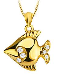 милые тропические рыбы золото 18k покрыло кулон кристаллические ювелирные изделия Специальный дизайн для женщин / мужчин подарок p30139