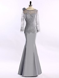 Trumpet/Mermaid Mother of the Bride Dress-Silver Floor-length Lace / Satin