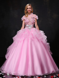 Princess Wedding Dress Wedding Dress in Color Floor-length High Neck Organza Tulle with Beading Bow Crystal Flower