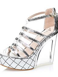 Women's Shoes  Wedge Heel Wedges / Heels / Peep Toe / Open Toe Sandals Casual Silver / Gold
