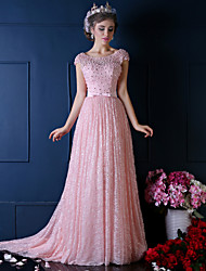 Ball Gown Scoop Neck Sweep / Brush Train Lace Formal Evening Dress with Beading Lace Pearl Detailing by QZ