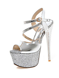 Women's Shoes  Stiletto Heel Heels / Peep Toe / Platform Sandals Party & Evening / Dress / Casual Pink / Silver / Gold