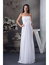 Formal Evening Dress Sheath / Column Strapless Floor-length Chiffon with Draping / Flower(s)