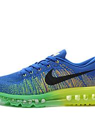 nike air max mens flyknit livre correndo formadores sapatos tênis preto / azul / verde / azul / verde / prata