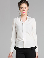 Women's Solid Pink / White Blouse,Stand Long Sleeve
