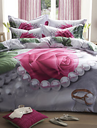 Betterhome  4 Piece Pure Cotton Unique 3D Definition Stereoscopic Flowers Print Bedding  Duvet Cover Sets