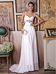 Sheath / Column Wedding Dress Sweep / Brush Train / Floor-length Straps
