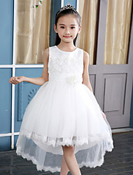 A-line Asymmetrical Flower Girl Dress - Satin Tulle Polyester Jewel with Bow(s) Flower(s) Sash / Ribbon