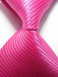 Striped Hot Pink JACQUARD WOVEN Men's Tie Necktie
