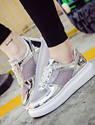 Scarpe Donna-Sneakers alla moda-Tempo libero / Casual / Sportivo-Comoda / Punta arrotondata-Plateau-Vernice / Tulle-Nero / Rosa / Argento