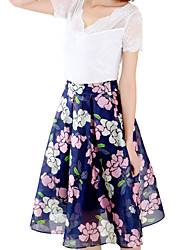 Women's Floral Blue Skirts,Work / Holiday Midi