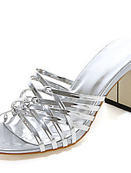 Women's Shoes Patent Leather Chunky Heel Open Toe Sandals Dress Pink / Silver / Gold