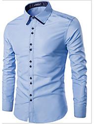 Men's Solid Casual Shirt,Cotton Long Sleeve Black / Blue / White