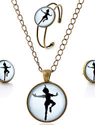 Lureme® Time Gem Series Simple Vintage Style The Girl Dancing Pendant Necklace Stud Earrings Bangle Jewelry Sets