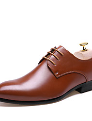 Men's Spring / Summer Pointed Toe Leather Wedding / Office & Career / Casual / Party & Evening Lace-up Black / Brown