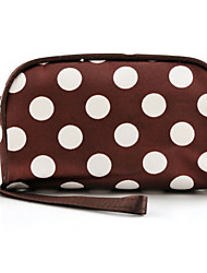 Women Fashion Portable Cosmetic Dot Pattern Beauty Bag Nylon Makeup Hand Case Bag