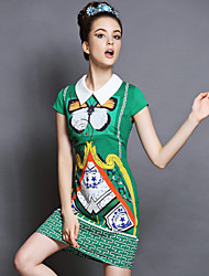 Women Vintage Europe Elegant Fashion Print Patchwork Slim Plus Size Short Sleeve Dress