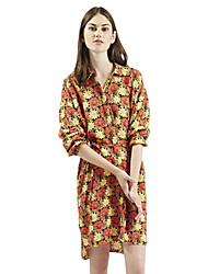 Women's Simple / Street chic A Line Dress,Floral Shirt Collar Above Knee Long Sleeve Red Polyester Spring