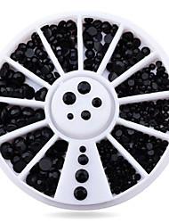 1wheel Pure Black Rhinestones 3d Nail Art Decorations