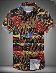 Men's Print / Floral Casual Shirt,Cotton Short Sleeve Multi-color