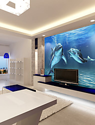 JAMMORY Seamless 3d large mural wall wall covering marine dolphin Animal Canvas Print One Panel Ready to Hang