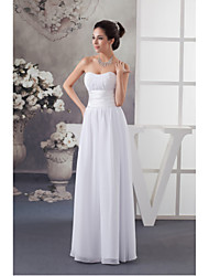 Floor-length Chiffon / Charmeuse Bridesmaid Dress-White A-line Sweetheart