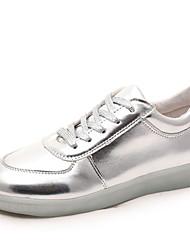 mulheres levou o carregamento sapatilhas de couro sintético de moda sapatos usb outdoor prata / Atlético / casual / ouro
