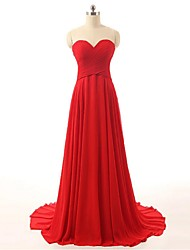 Formal Evening Dress A-line Jewel Sweep / Brush Train Chiffon / Tulle with Appliques / Beading / Side Draping / Sequins