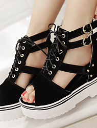 Women's Shoes Platform Wedges/Platform/Creepers/Open Toe Sandals Dress Black/Blue/Red/Almond