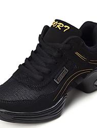 Women's Dance Shoes Sneakers  Breathable Leather Split Sole Low Heel Gold/Purple