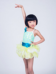 MiDee Ballet Dresses Children's Performance Organza Sequined Lycra Ruffles Tiers Sequins Sleeveless Natural
