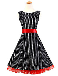 50s Era Vintage Style Sleeveless Rockabilly Dress Cosplay Costume Black White Mini Polka Dot (with Petticoat)